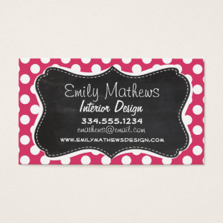 Dark Pink Polka Dots; Retro Chalkboard look