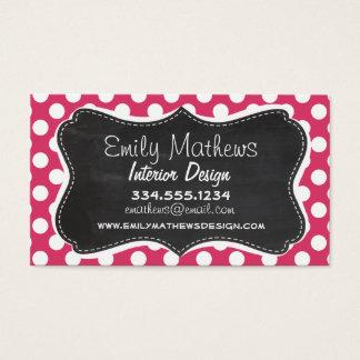 Dark Pink Polka Dots; Retro Chalkboard look Business Card