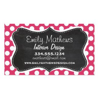 Dark Pink Polka Dots; Retro Chalkboard look Business Card Template