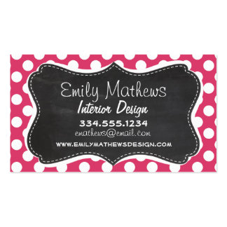 Dark Pink Polka Dots; Retro Chalkboard look Pack Of Standard Business Cards