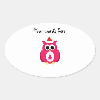 Dark pink santa owl oval sticker