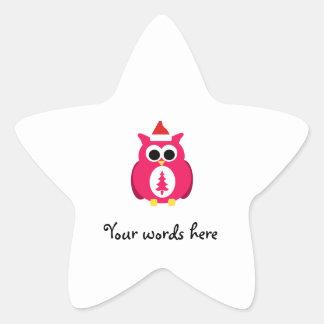 Dark pink santa owl star sticker