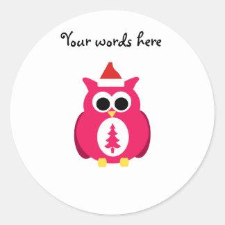 Dark pink santa owl round stickers