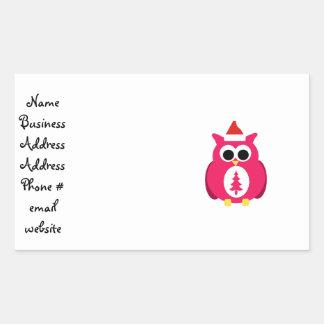 Dark pink santa owl rectangular stickers