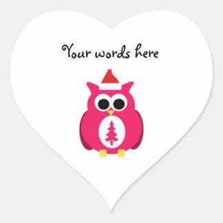 Dark pink santa owl stickers