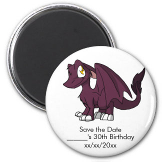 Dark Pink SD Furry Dragon Save the Date 6 Cm Round Magnet