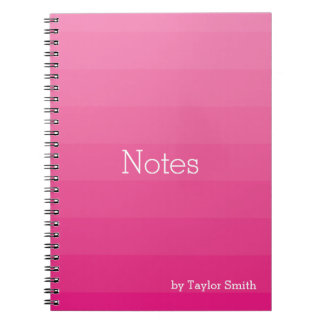 Dark Pink Shades Horizontal Stripes Youthful Notebook