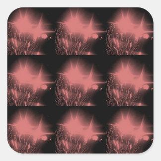 Dark Pink Sparks fireworks square sticker
