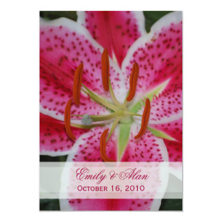 Dark Pink Stargazer Lily Wedding Invitation
