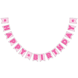 DARK PINK TEXT & LIGHT PINK COLOR ☆HAPPY BIRTHDAY☆ BUNTING