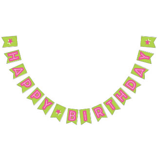 DARK PINK TEXT & LIME GREEN COLOR ☆HAPPY BIRTHDAY☆ BUNTING