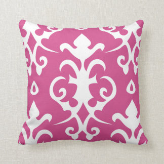 Dark Pink Vintage Pattern Damask Pillow
