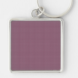 Dark Pink With Simple White Dots Keychain