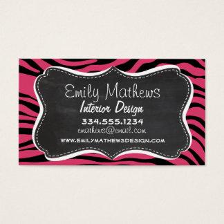 Dark Pink Zebra Stripes; Chalkboard look Business Card