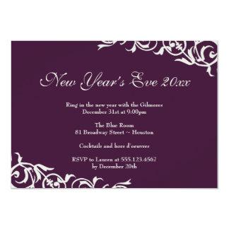"Dark plum ornate borders festive party celebration 5"" x 7"" invitation card"