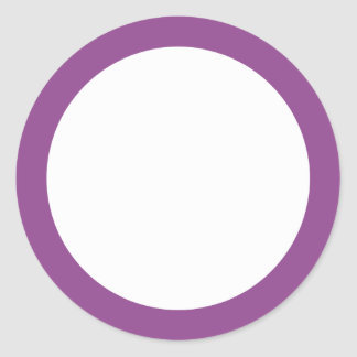 Dark plum purple border blank round sticker