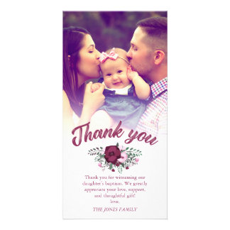 Dark Plum Rose Bouquet Baptism Thank You Photo Picture Card