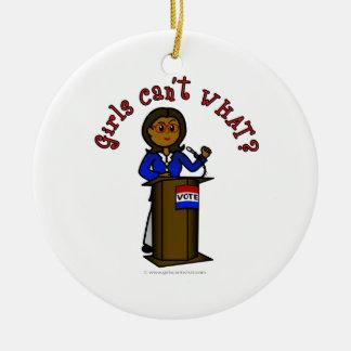 Dark Politician Girl Christmas Ornaments