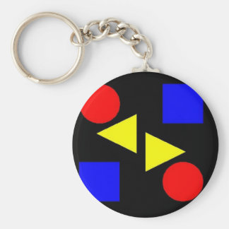 Dark Primary Basic Round Button Key Ring