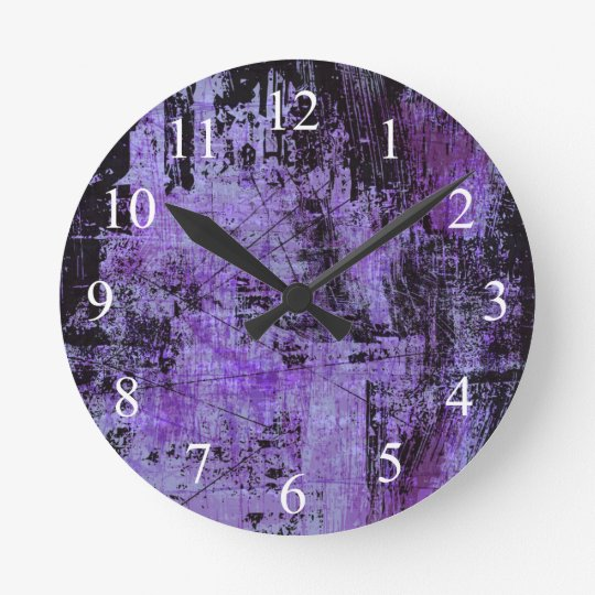 Dark Purple and Black Grunge Wall Clock