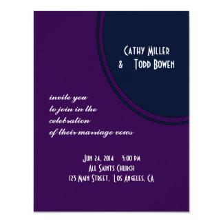 Dark purple and blue modern circle wedding 11 cm x 14 cm invitation card