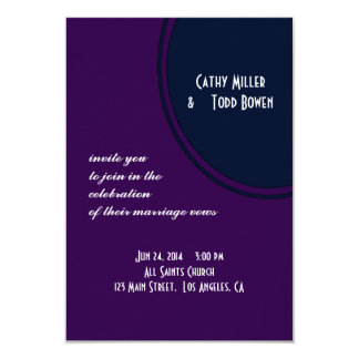 Dark purple and blue modern circle wedding 9 cm x 13 cm invitation card