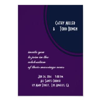 Dark purple and blue modern circle wedding 13 cm x 18 cm invitation card