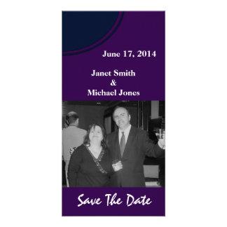 Dark purple and blue modern circle wedding customized photo card