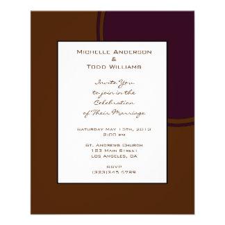 Dark purple and Brown modern Wedding Flyer