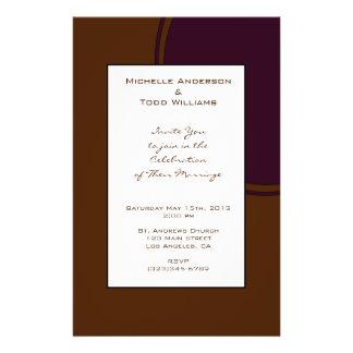 Dark purple and Brown modern Wedding 14 Cm X 21.5 Cm Flyer