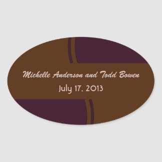 Dark purple and Brown modern Wedding Oval Sticker