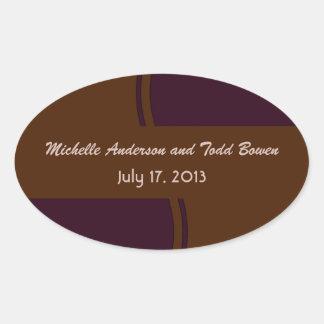Dark purple and Brown modern Wedding Oval Sticker