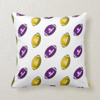 Dark Purple and Gold Football Pattern Cushion