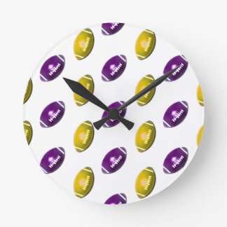 Dark Purple and Gold Football Pattern Round Clock