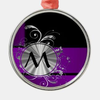 Dark purple and monogram christmas ornament