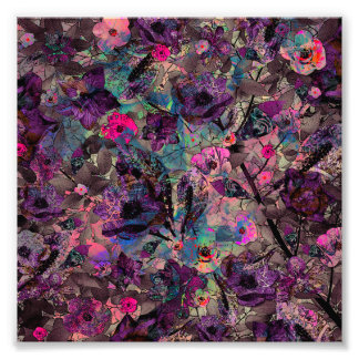 Dark Purple and Pink Floral Wallpaper Photo Print