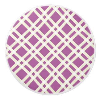 Dark Purple and White Gingham Pattern Knobs