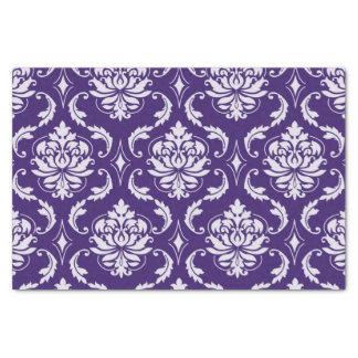 """Dark Purple and White Vintage Damask Pattern 10"""" X 15"""" Tissue Paper"""