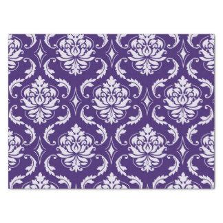 """Dark Purple and White Vintage Damask Pattern 15"""" X 20"""" Tissue Paper"""