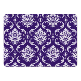 Dark Purple and White Vintage Damask Pattern Business Card Templates