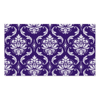 Dark Purple and White Vintage Damask Pattern Business Card Template