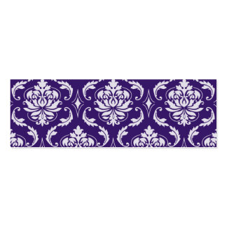 Dark Purple and White Vintage Damask Pattern Business Card