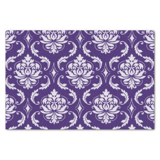 Dark Purple and White Vintage Damask Pattern Tissue Paper