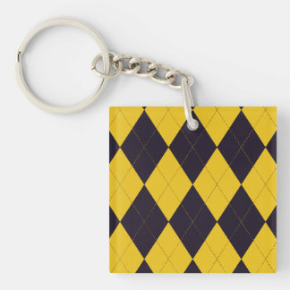 Dark Purple and Yellow Argyle Key Chain Square Acrylic Keychains