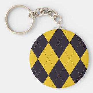 Dark Purple and Yellow Argyle Keychain
