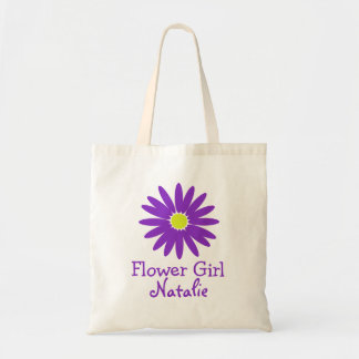 Dark Purple Daisy with Customizable Text Tote Bag