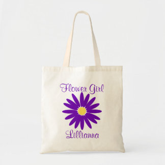 Dark Purple Daisy with Customizable Text Canvas Bags
