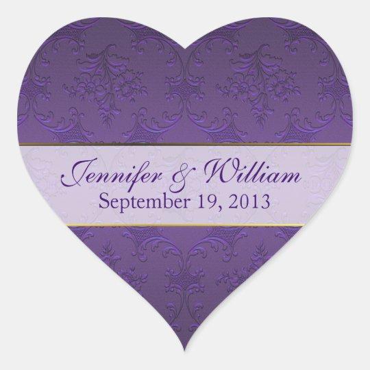 Dark Purple Damask Heart Custom Wedding Sticker