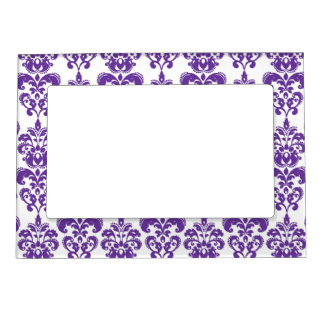 DARK PURPLE DAMASK PATTERN 2 MAGNETIC PICTURE FRAME