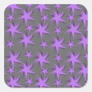 Dark Purple Dancing Stars Square Sticker